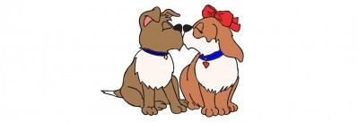 Two cartoon dogs kissing